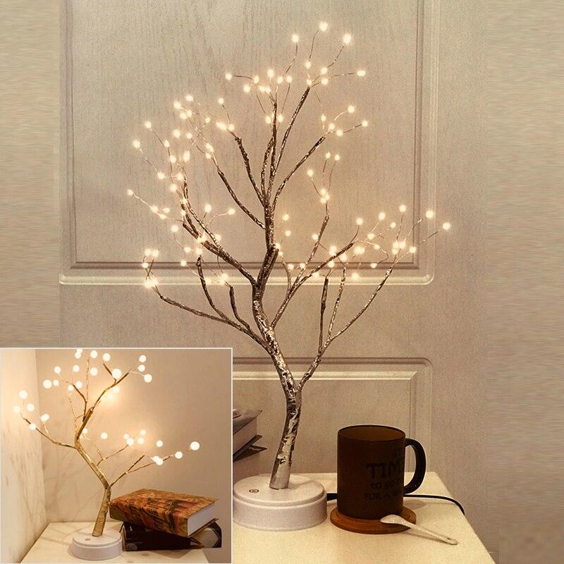 Cable de cobre, interruptor táctil, Control, carga USB, forma del árbol, luz Led de 36 leds, 108 leds, brillo de fiesta, luz nocturna de fuegos artificiales DIY