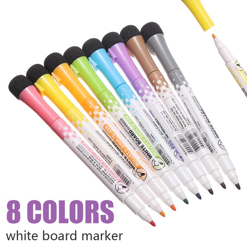 8 color/set Magnetic Whiteboard Marker Pen White Board Pen Erasable Dry Wipe Markers Office School Supplies