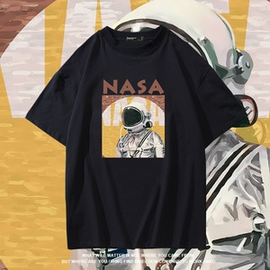 Men's t-shirt100% cotton short slleve funny moon print men T shirt casual summer loose men tshirt o-neck male t-shirt shirts