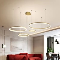 modern minimalist led ceiling lamp home lighting brushed rings ceiling mounted chandelier lighting hanging lamps