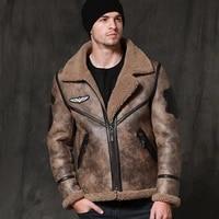 men sani new black real fur coat witner warm short genuine leather jacket formal businesmen meeting sheepskin fur clothing