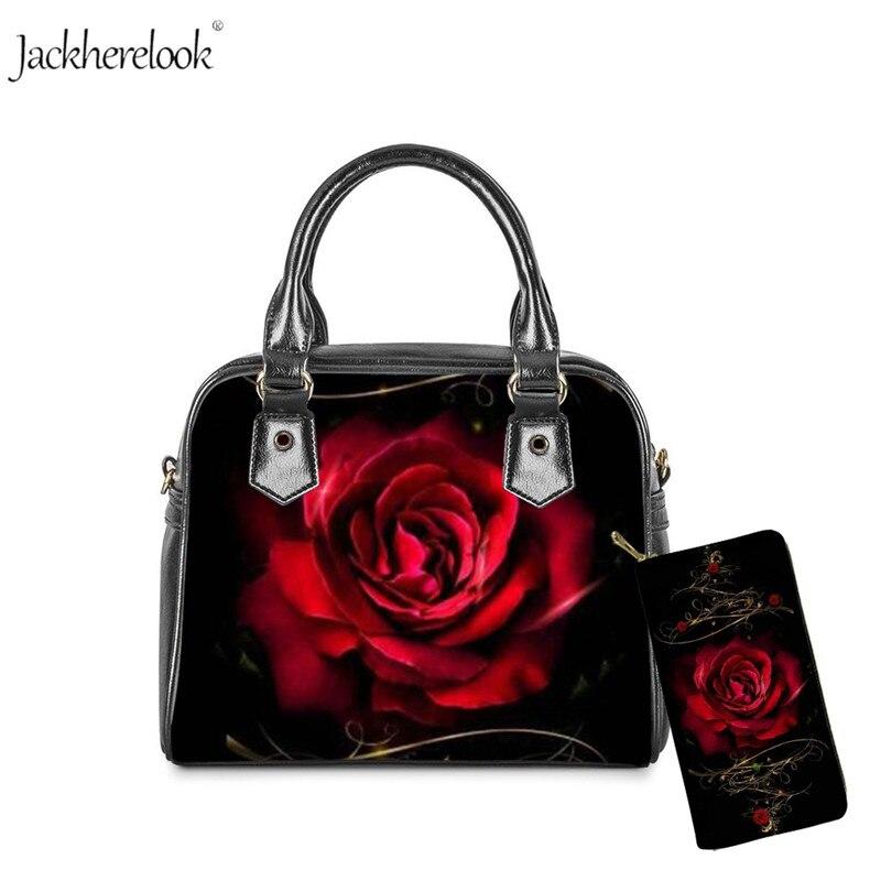 Jackherelook nova flor rosa 3d impresso senhoras mensageiro saco e bolsa para belas flores 2pcs bolsas e carteiras femininas