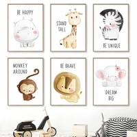 zebra hippo giraffes elephant lions baby canvas painting nordic wall art posters and prints wall pictures kawaii kids room decor