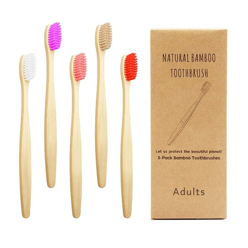 Bamboo Toothbrushes Charcoal Bristles Biodegradable Natural Eco-Friendly Compostable Vegan Reusable Bamboo Toothbrush 5PCS
