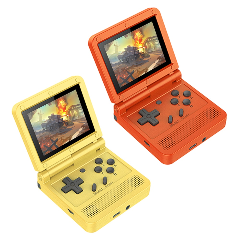 New V90 3 Inch Ips Screen Flip Handheld Console Dual Open System Game Console 16 Simulators Retro For PS1 Kids Gift 3D New Game
