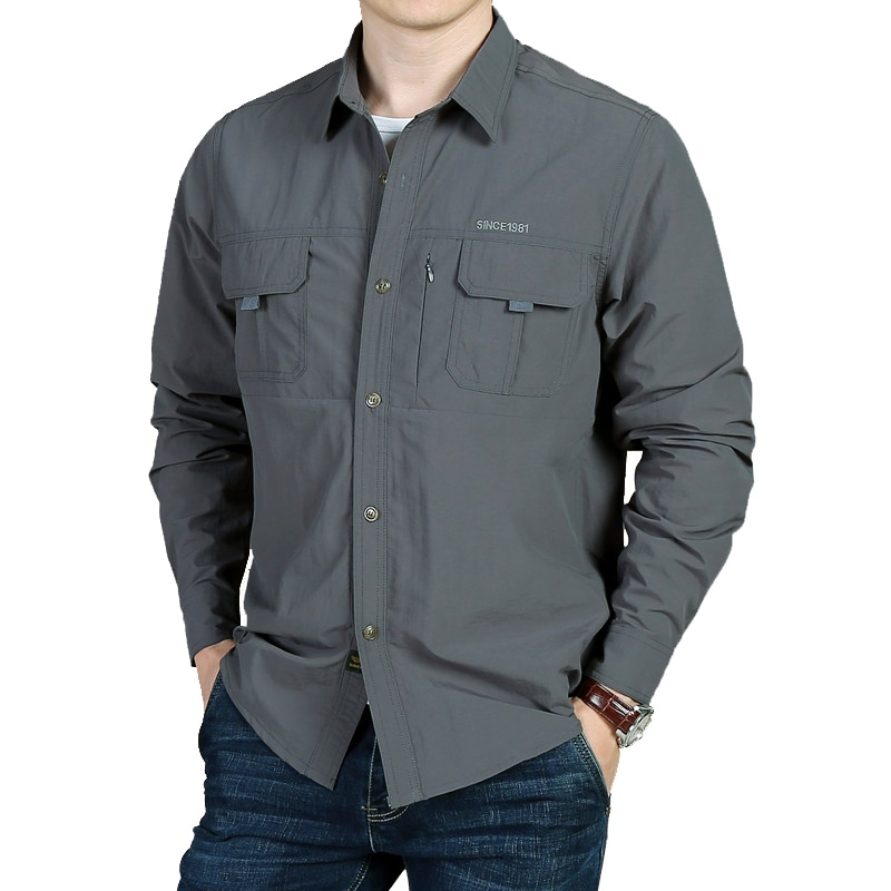 Men's Tactical  Summer Lightweight Quick Drying  Army Military Long Sleeve Outdoor Work Cargo Shirts Longsleeve Shirt for Men