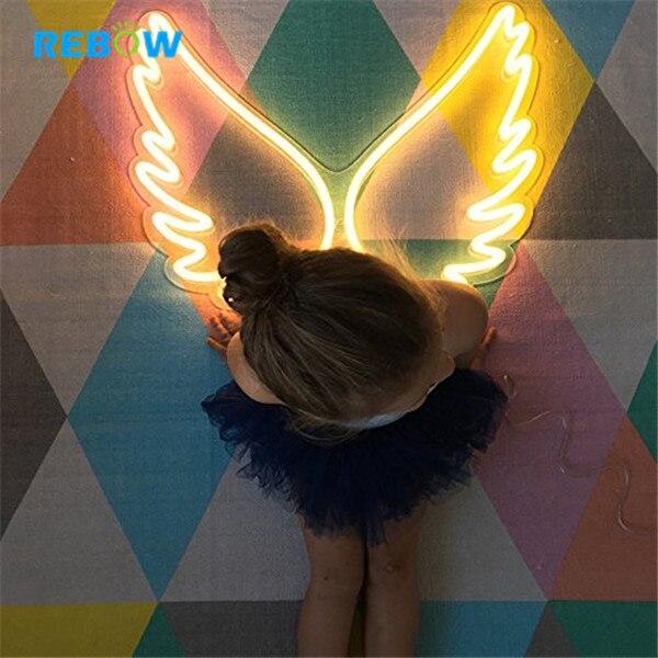 Drop shipping LED Illuminated Logo Acrylic Wing Love Wedding Custom Neon Signs Word Lights for Home Bar room decoration lights enlarge
