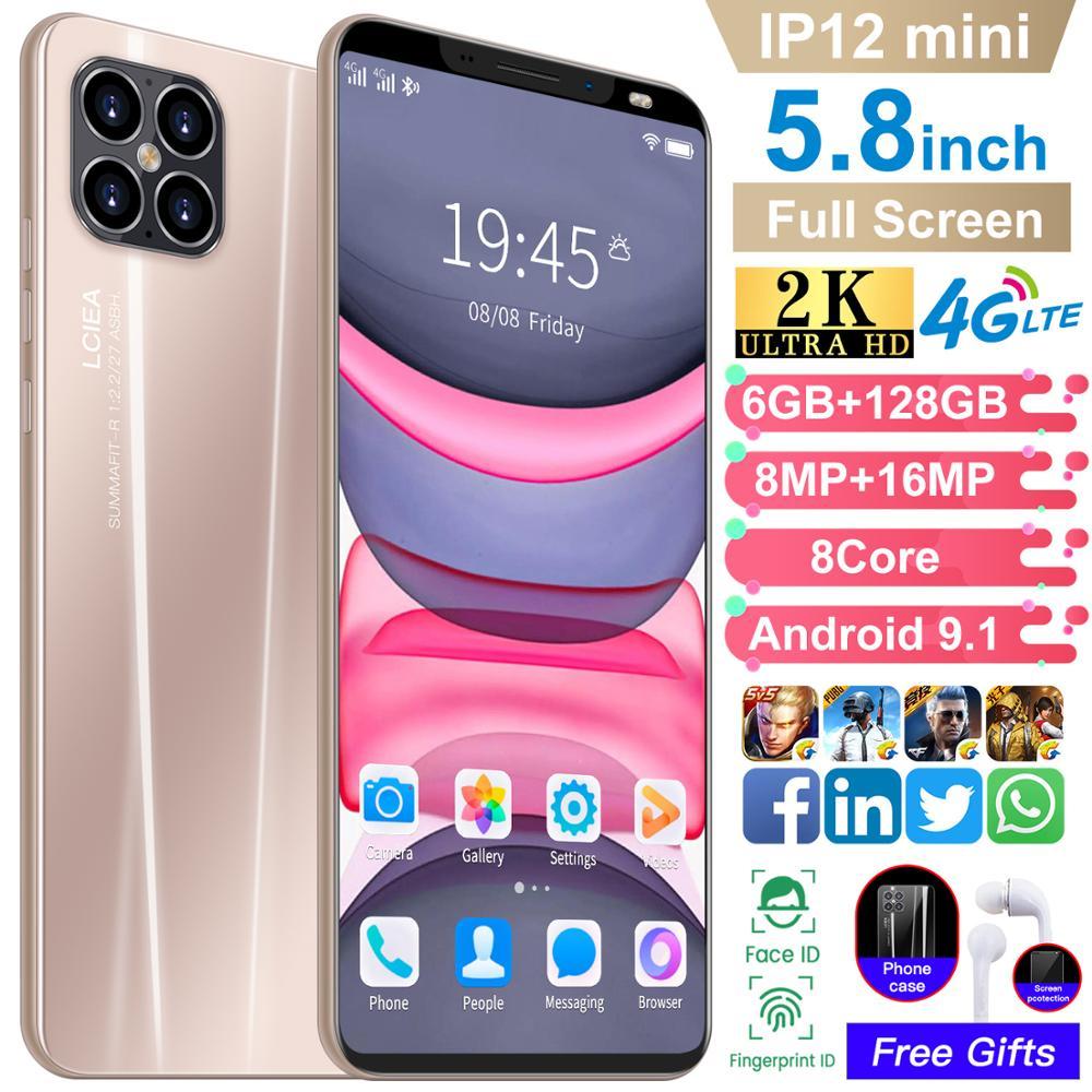 IP12Mini Face Fingerprint ID 6+128GB Smart Phone 5.8 Inch Andriod 9.1 Cellphones 8+16MP 8 Core MT6589 GPS Mobile Phone Celular