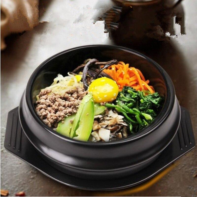 أطقم مطبخ كورية كلاسيكية ، وعاء من حجر Dolsot لـ Bibimbap ، وعاء سيراميك للشوربة والرامين مع تعبئة احترافية
