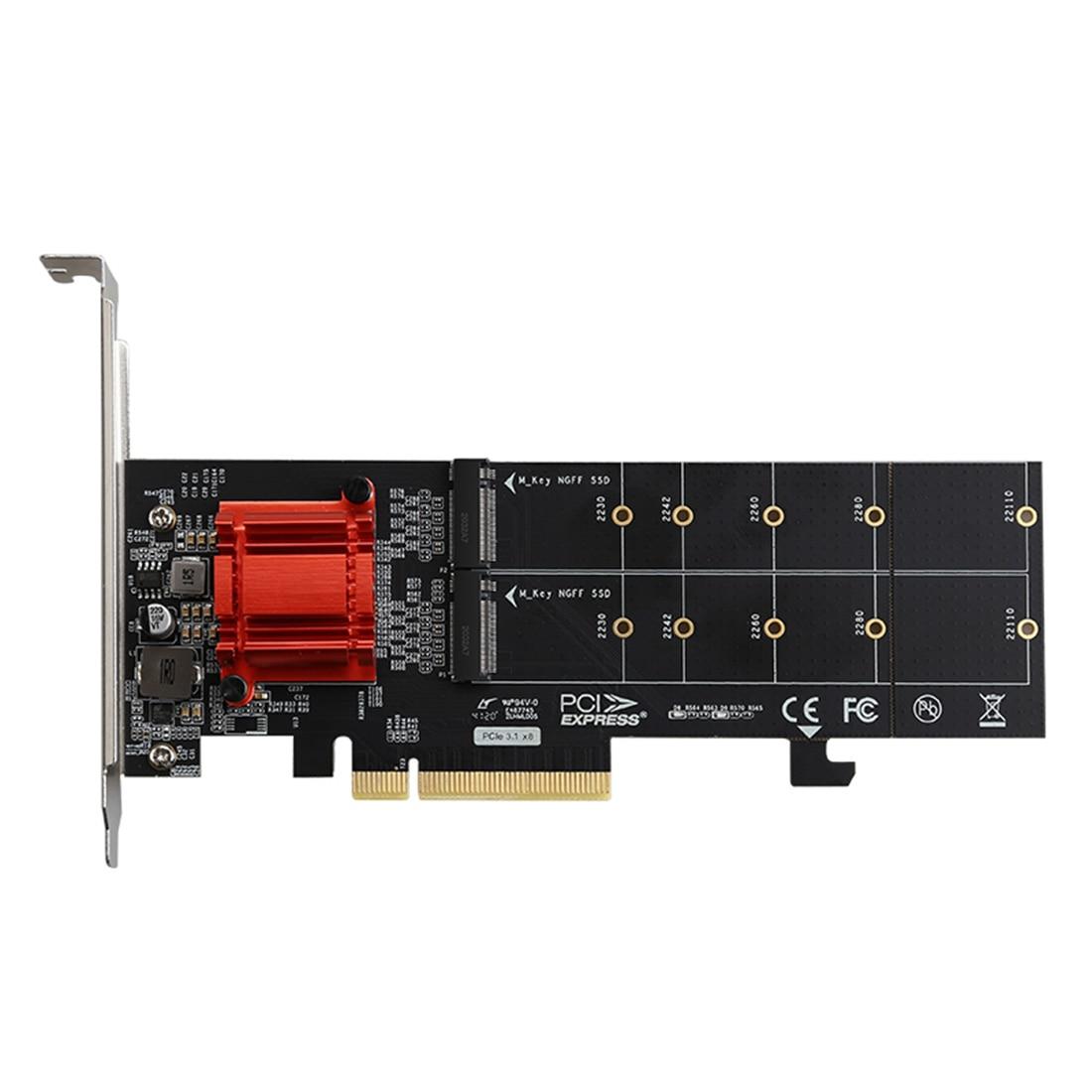DIEWU-محول توسيع TXB122 PCIe ، 3.1x8 ASM1812 إلى 2 منافذ M.2 SSD ، بطاقة توسيع ، محول M-key إلى Pci-e لـ NVME 2230-22110 SSD