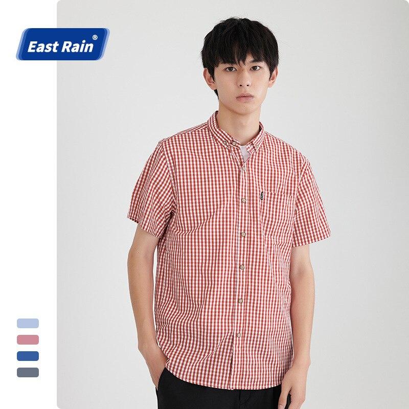Летняя футболка с короткими рукавами рубашки в клетку модные мужские деловые повседневные рубашки 100% хлопок Облегающая рубашка размера пл...