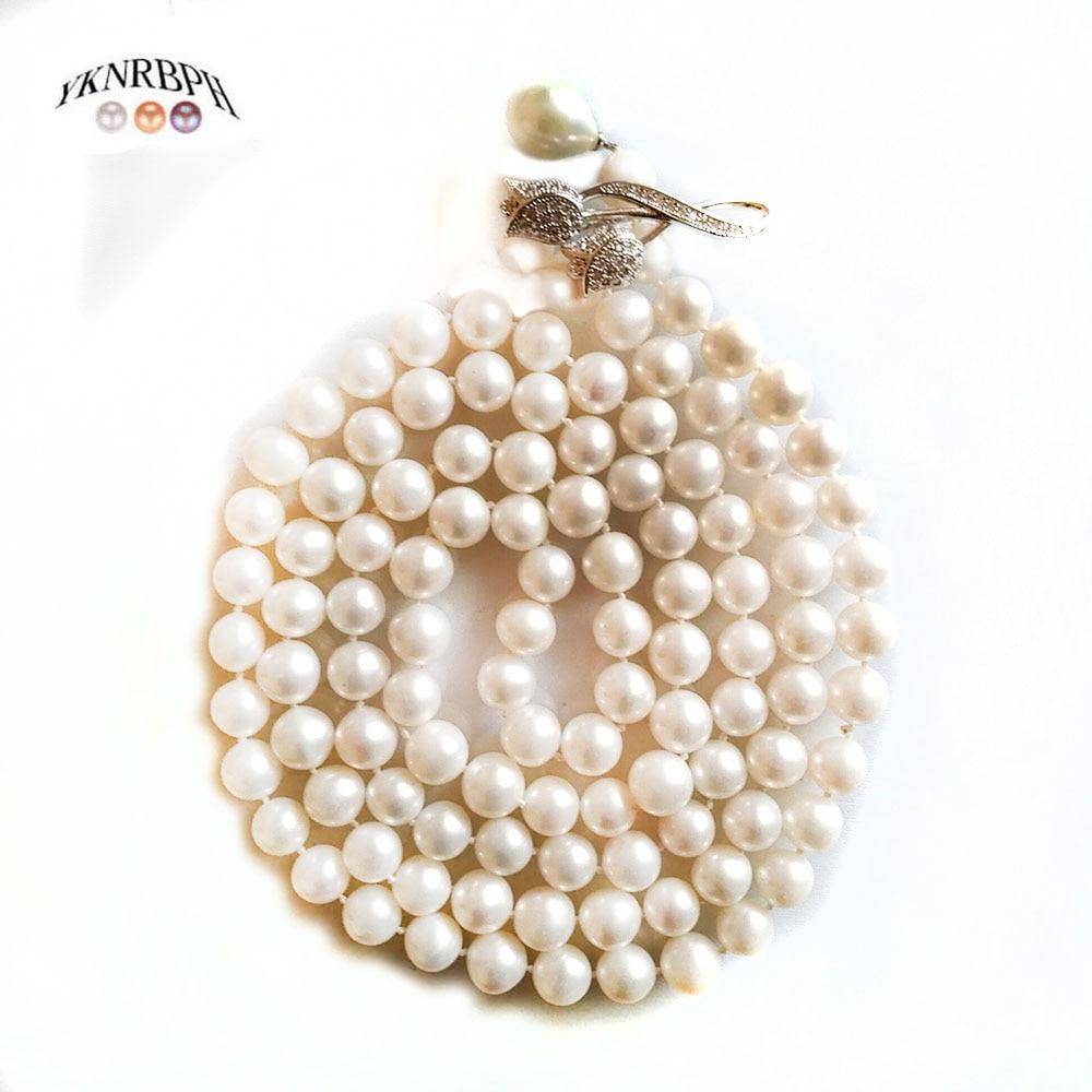 YKNRBPH tres tipos de cadenas para suéter de perlas S925 de plata de ley Collar largo de perlas redondas para mujeres