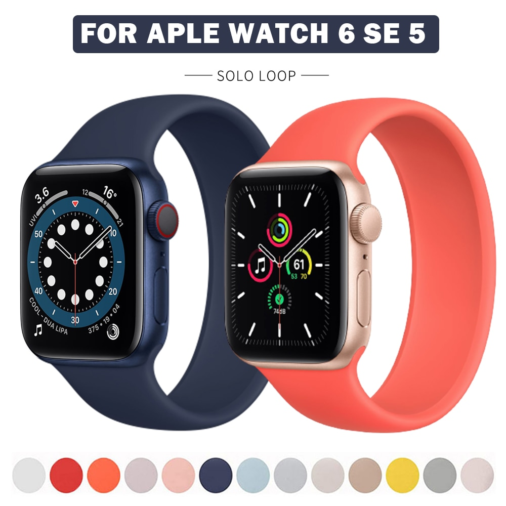Sport Loop Band For Apple Watch Series 6 SE 44mm 40mm Silicone Strap 5 4 3 42mm 38mm Solo