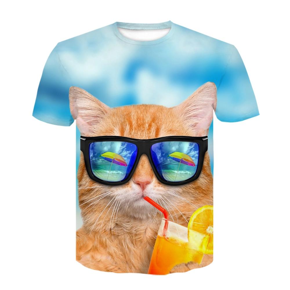 2021 New Animals Man's Cat T-shirt Fashion Funny Cat Smoking 3D Print Men's Short-sleeved Top O-neck T Shirt Oversize T-shirt женская футболка 2015 cat 3d t 1983