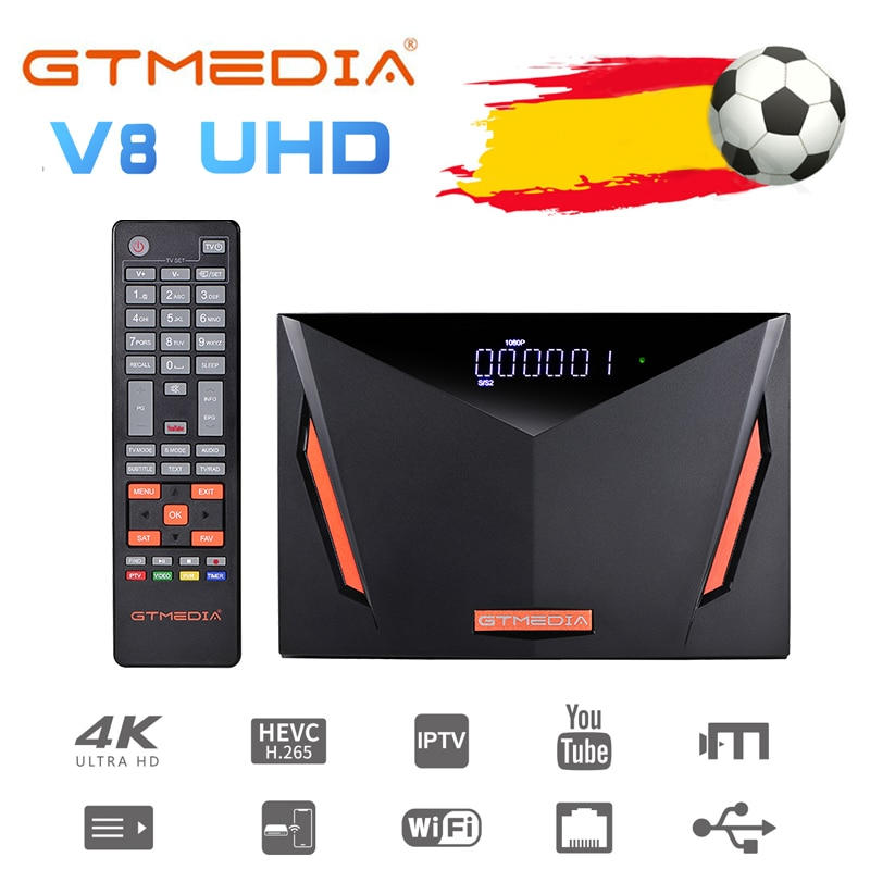 Gtmedia V8 UHD DVB S2 receptor de satélite construido en wifi H.265 DDVB-S/S2/S2X + T/T2/Cable/ATSC-C/ISDBT mejor V8X V8 PRO2 V7 HD
