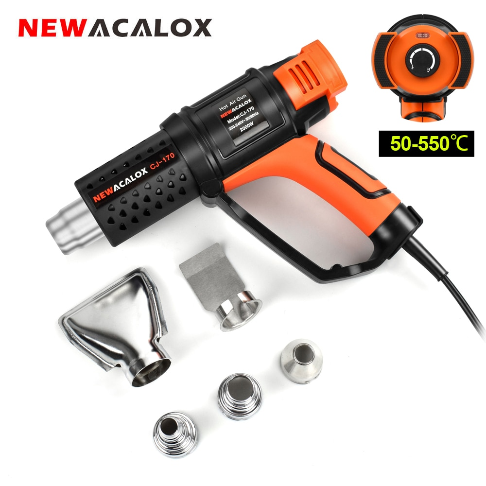 220v 2000w hot air gun powerful mini hand tools lcd temp adjustable heat gun 2 nozzles for soldering and welding tgk 8920e NEWACALOX 2000W 220V Industrial Hot Air Gun Adjustable Temperature Heat Gun with 4pc Nozzles Shrink Wrapping Thermal Power Tool