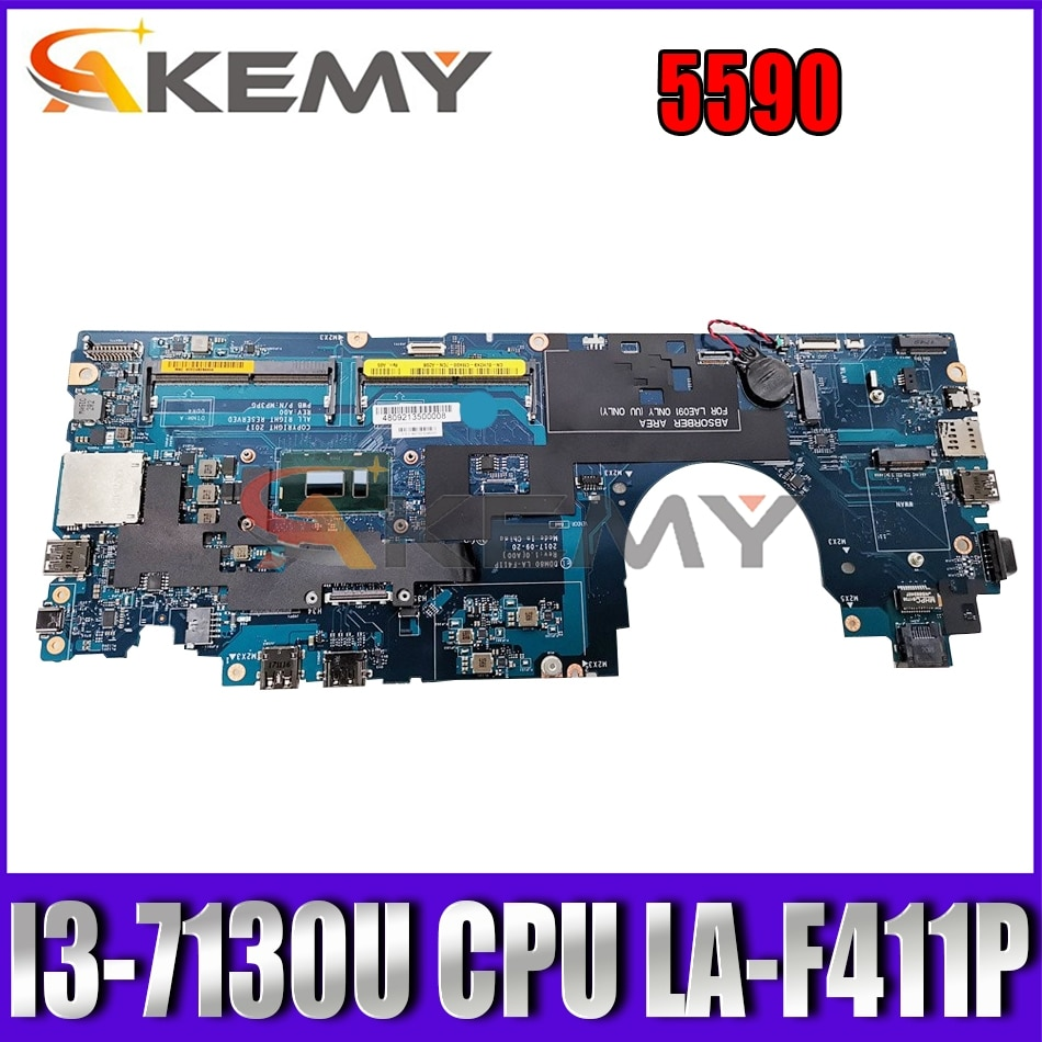 Akemy العلامة التجارية الجديدة DDM80 LA-F411P i3-7130U لأجهزة الكمبيوتر المحمول ديل خط العرض 5590 اللوحة الأم CN-0PTD05 PTD05 اللوحة الرئيسية 100% اختبارها