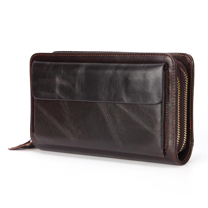 العلامة التجارية الفاخرة مزدوجة الرمز البريدي جلد طبيعي مخلب المحفظة الرجال سستة محفظة كبيرة طويلة المال المحفظة مع حزام المعصم Pounch الهاتف