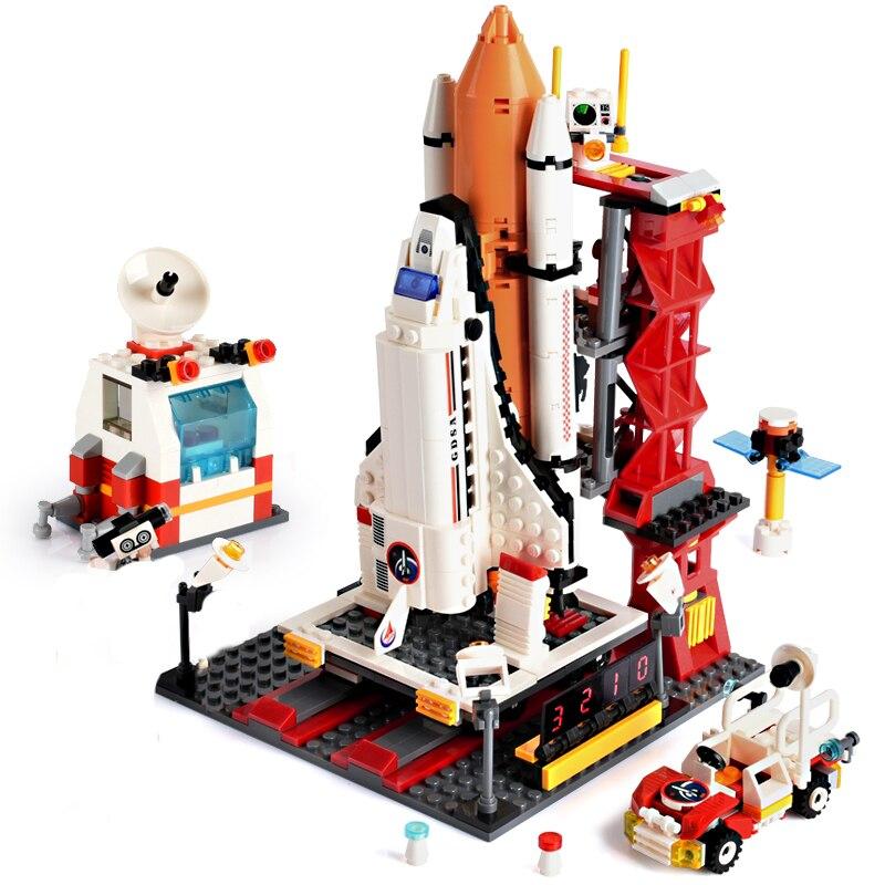 679pcs City Spaceport Space The Shuttle Launch Center Building Blocks Compatible Brand DIY Bricks Toys For Children