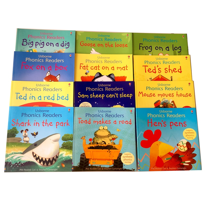12 Books/set Usborne English Picture Books Phonics Readers Classroom Educational Toys for Children English Picture Story Book
