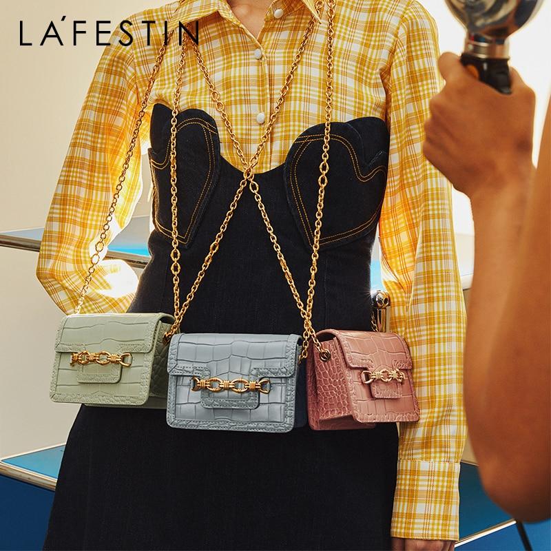 LAFESTIN-حقيبة كتف صغيرة مربعة للنساء ، حقيبة كتف صغيرة عصرية ، حزام سلسلة ، نمط تمساح ، leat ، مجموعة جديدة 2021