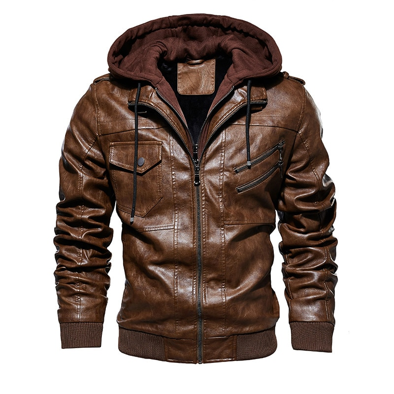 Fashion Brand Mannen Pu Lederen Jassen 2019 Winter Dikke Hooded Schuine Rits Motorfiets Faux Leren Jas Mannen Plus Size M-4XL