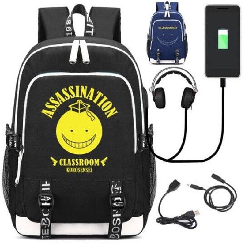 Sala de Aula Mochila com Porta Fone de Ouvido Bolsa de Ombro Assassinato Moda Bolsa Adolescente Estudante Escola Portátil Presente Usb