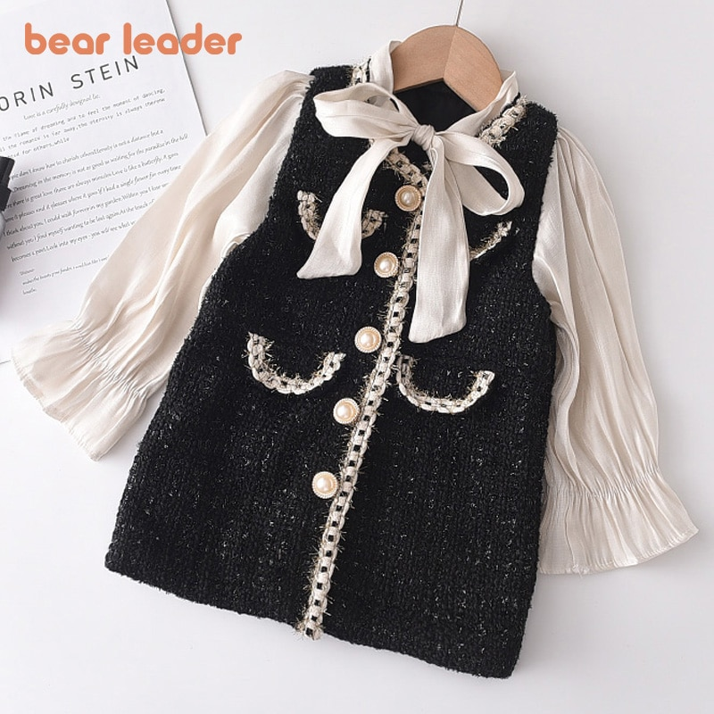 aliexpress - Bear Leader Girls Princess Patchwork Dress 2021 New Fashion Party Costumes Kids Bowtie Casual Outfits Baby Lovely Suits for 2 7Y