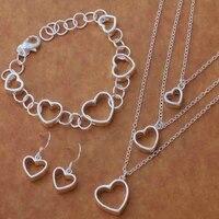 925 sterling silver 3pcs earrings necklaces bracelet for women elegant bridal wedding jewelry jewellery set