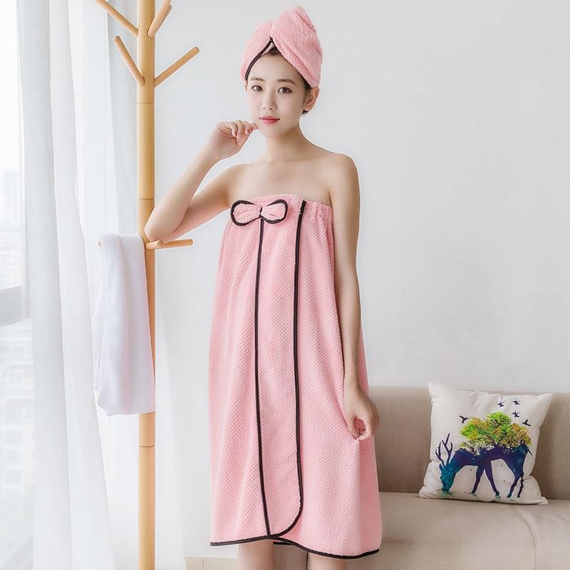 Nueva versión coreana, traje de tres piezas, toallas ponibles, falda de baño, suave absorbente, gorro de pelo seco para mujeres, diadema, conjunto de falda de baño