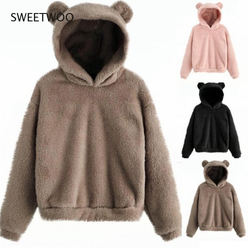 Толстовка Kawaii Для женщин пуловер худи Харадзюку кофты негабаритных сама по себе с медвежьими ушками, повседневное Хлопковое платье, теплый ...