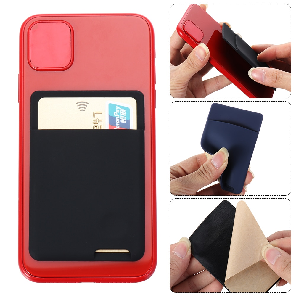 Universal Self-Adhesive Sticker Card Sleeves Phone Wallet Case Stick On ID Credit Card Holder Elastic Silicone Cellphone Pocket