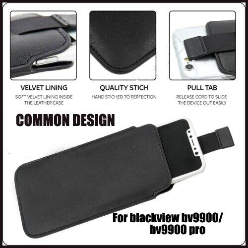 Casteel PU Pull Tab manga bolsa Funda de cuero para Blackview BV9900 BV9900 pro BV5500 PLUS funda