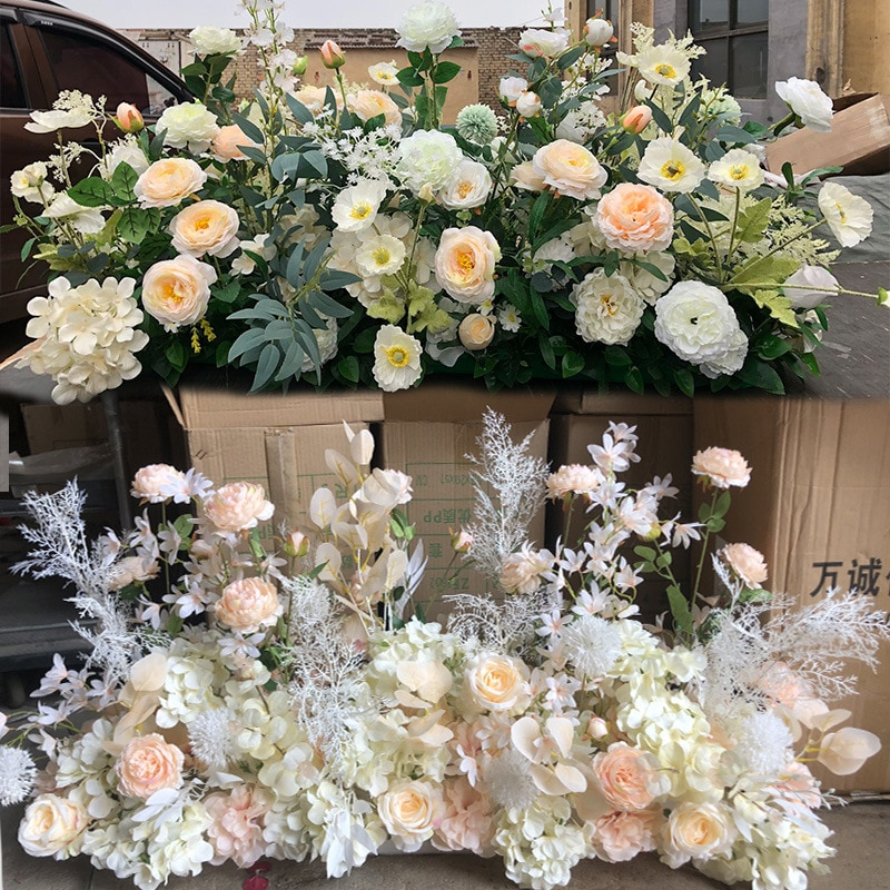 100cm Flower Row Arch Layout Flower Stage Guide Flower Wedding Scene DIY Artificial Flower Silk Rose Peony Party Decoration