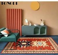 tongdi boho carpet anti skid modern elegant artistic printing mat soft rug luxury decor for home parlour livingroom bedroom