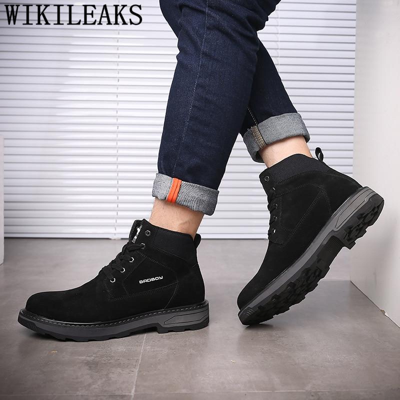 Botines de piel auténtica para Hombre, Calzado de invierno, Sepatu Pria Calzado