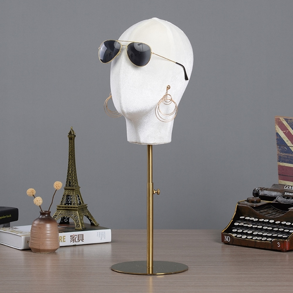 Sunglasses Ear Studs Display Stand Adjustable Height Metal Stand Head Model Flannel Cloth Material