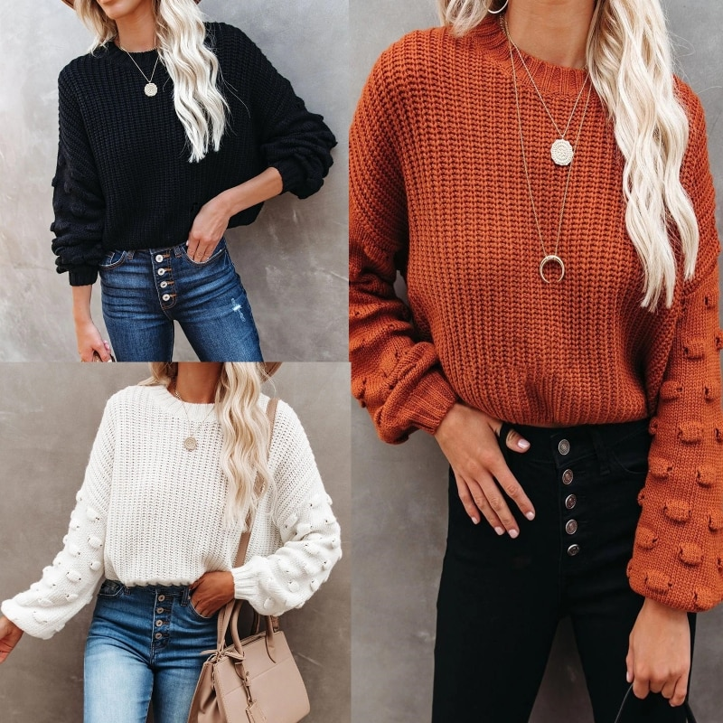 Women Dot Puff Long Sleeve Sweater O-Neck Chunky Knitted Loose Jumper Crop Top enlarge