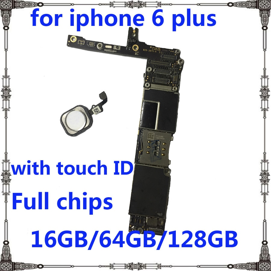 IOS system 16GB 64GB 128GB Motherboard for iphone 6 plus 6p Original Unlocked with / without touch ID for iphone 6plus Mainboard