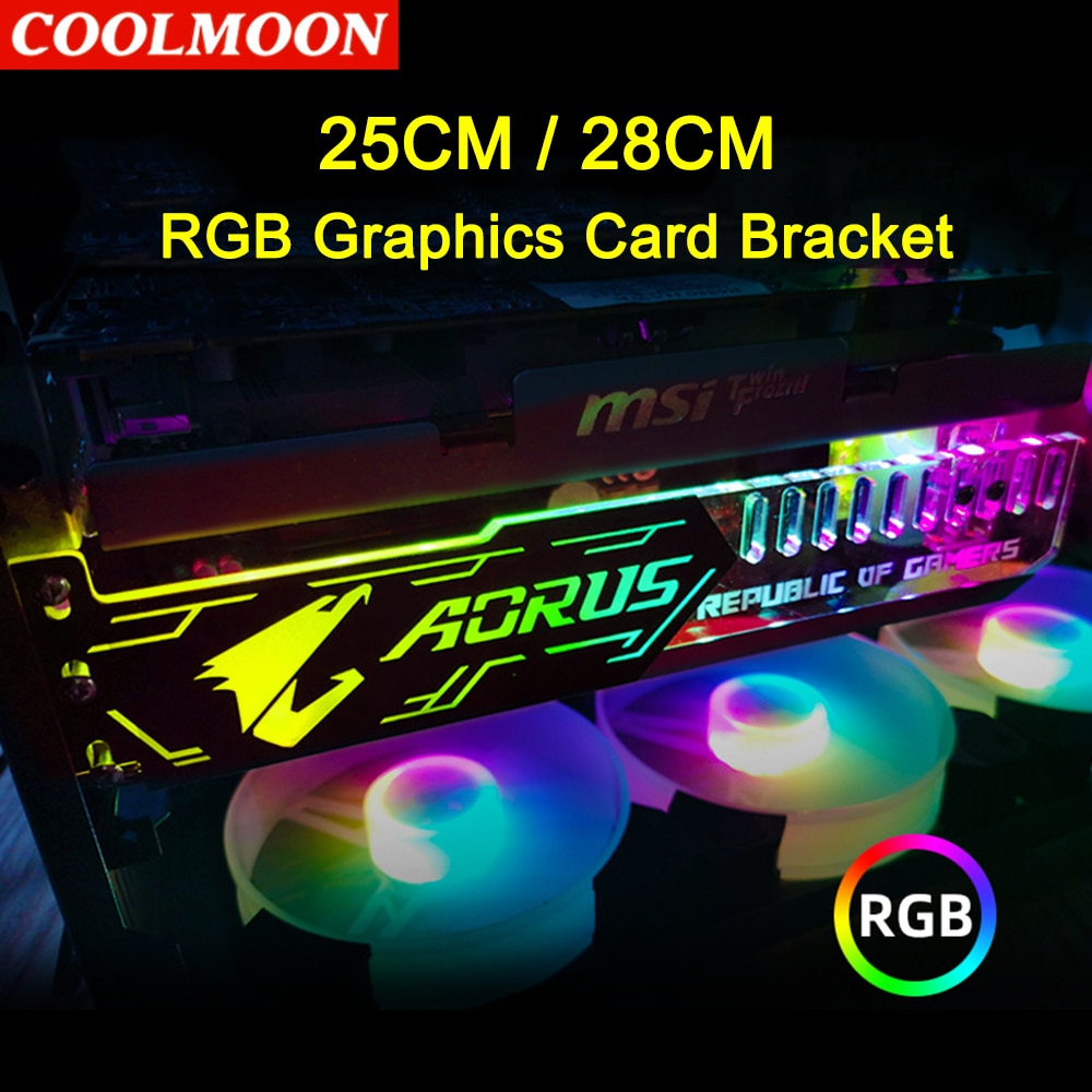 Coolmoon RGB LED Light Graphics Card Bracket 25cm/28cm 5V Small 4PIN GPU Support VGA Holder for Computer Chassis PC Accessories