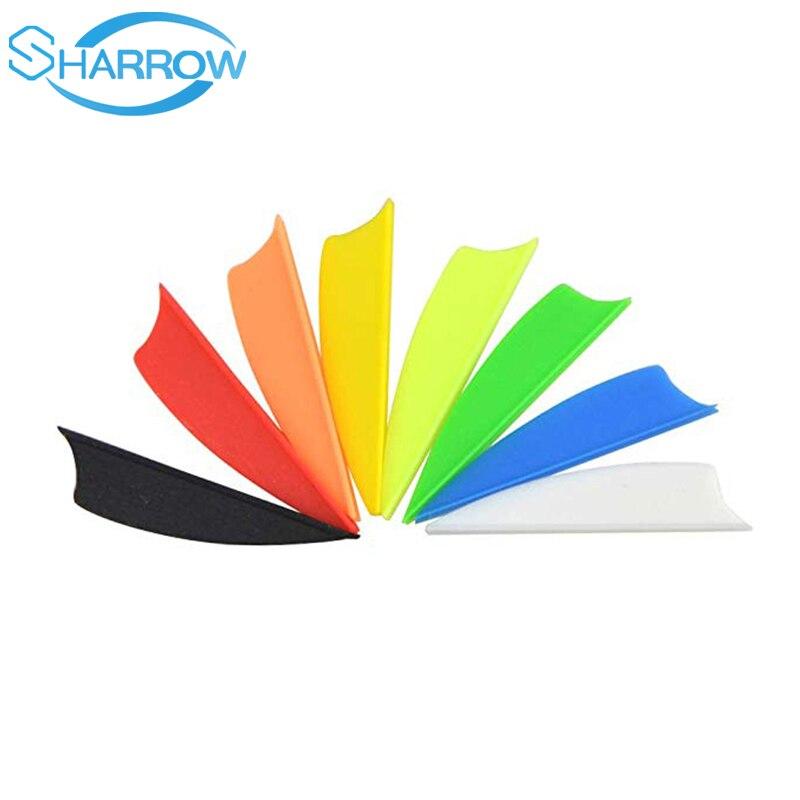 "100pcs1.75 ""2"" 2,5 ""3"" plumas de flechas de plástico Fletching Flecha de plástico Empennage para accesorios de flecha de fibra de vidrio flecha"