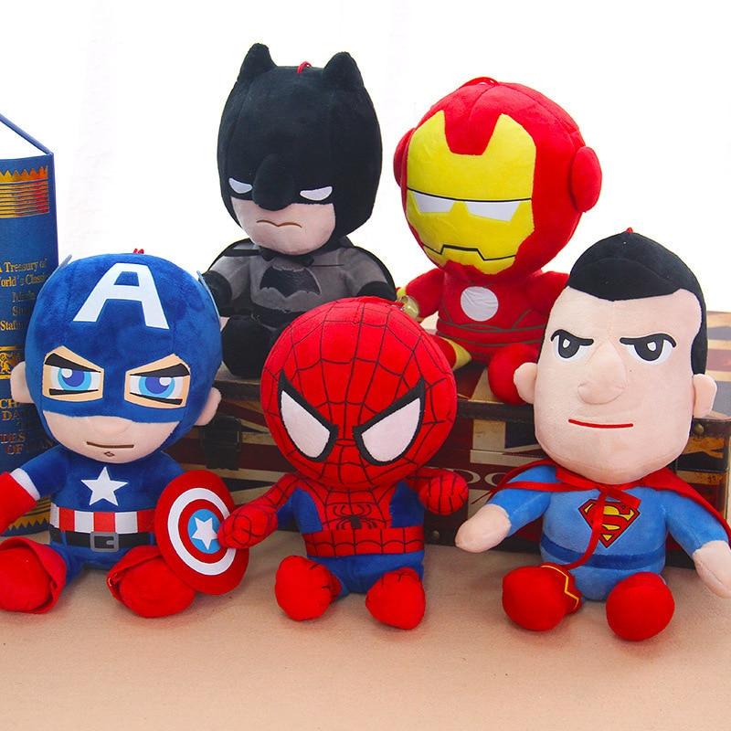 27cm Man Spiderman Plush Toys Movie Dolls Marvel Avengers Soft Stuffed Hero Captain America Iron Christmas Gifts for Kids Disney