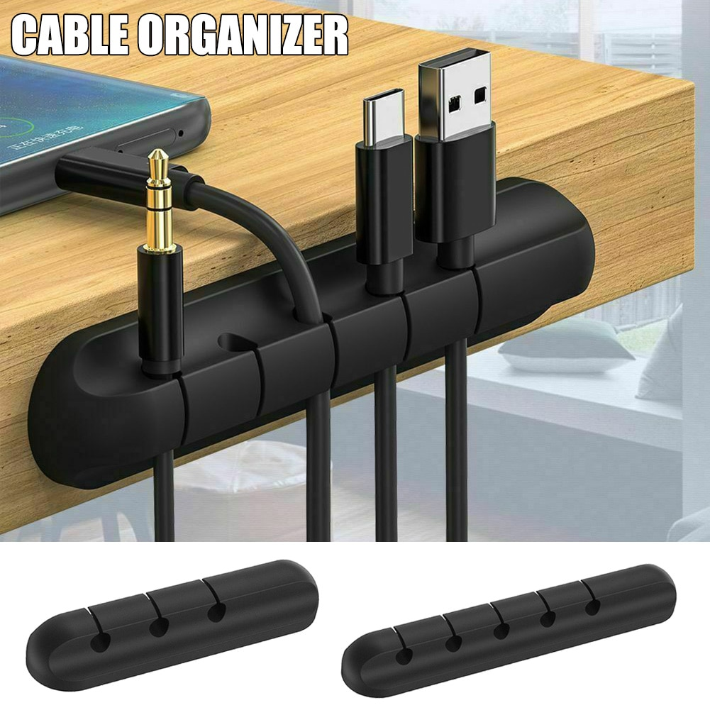 Cable Organizer Silicone USB Cable Winder Desktop Tidy Management Clips Desktop Cables Organizer PUO88