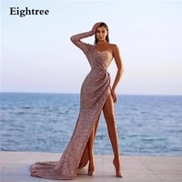 eightree sparkly pink one shoulder long sleeves prom dress bling sequins evening dresses high split slit formal party gowns