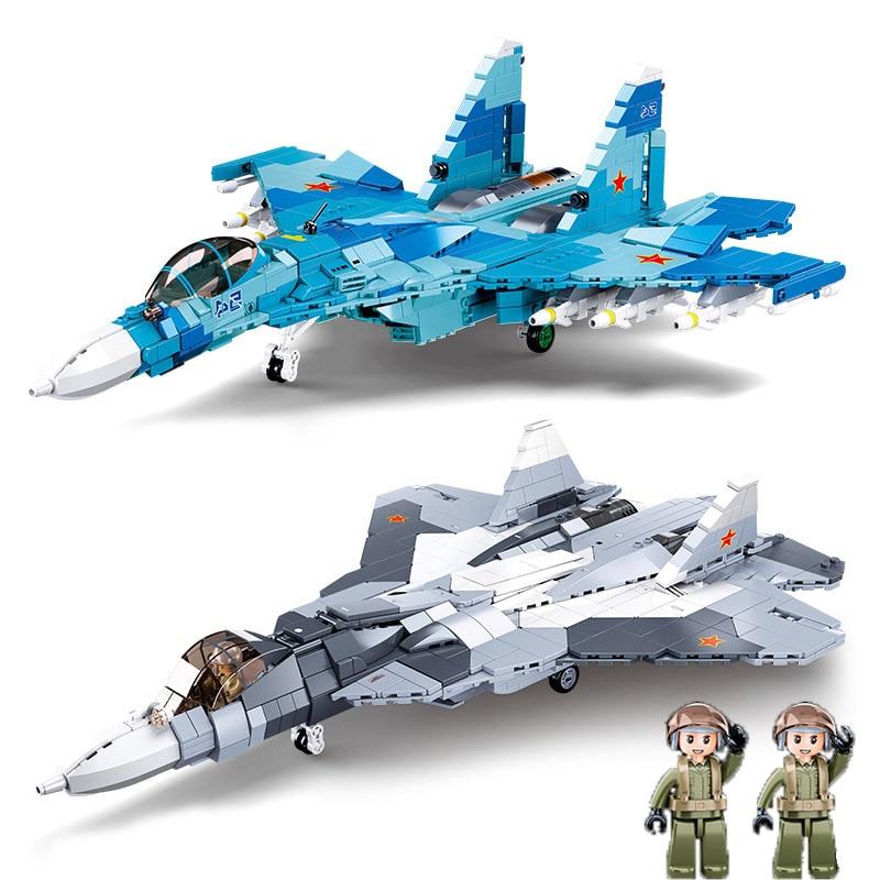Sluban سلاح سلاح الجو العسكري سوخوي Su-27 Su-57 فلانكر مقاتلة اللبنات عدة الطوب WW2 الكلاسيكية نموذج اللعب الفتيان هدية