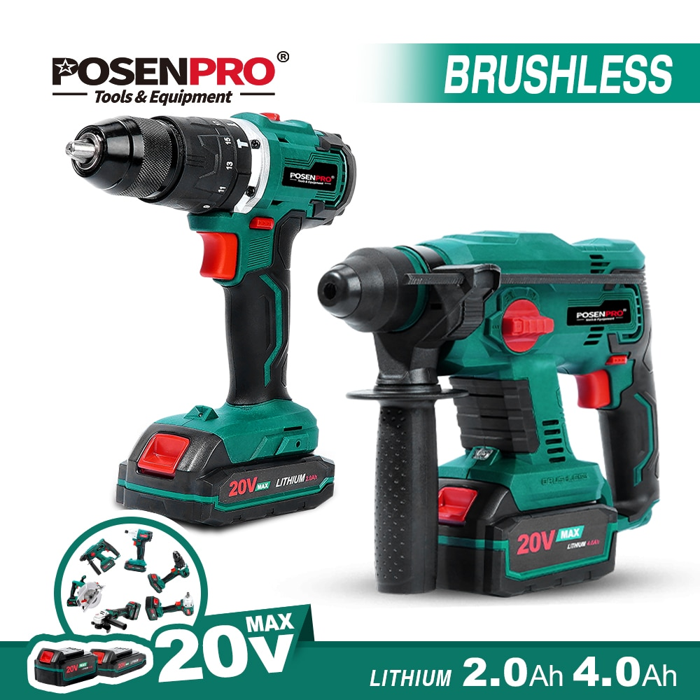 Brushless Rotary Hammer Electric Drill 20V Cordless Hammer 1.7J SDS PLUS Drilling Steel Concrete Woo
