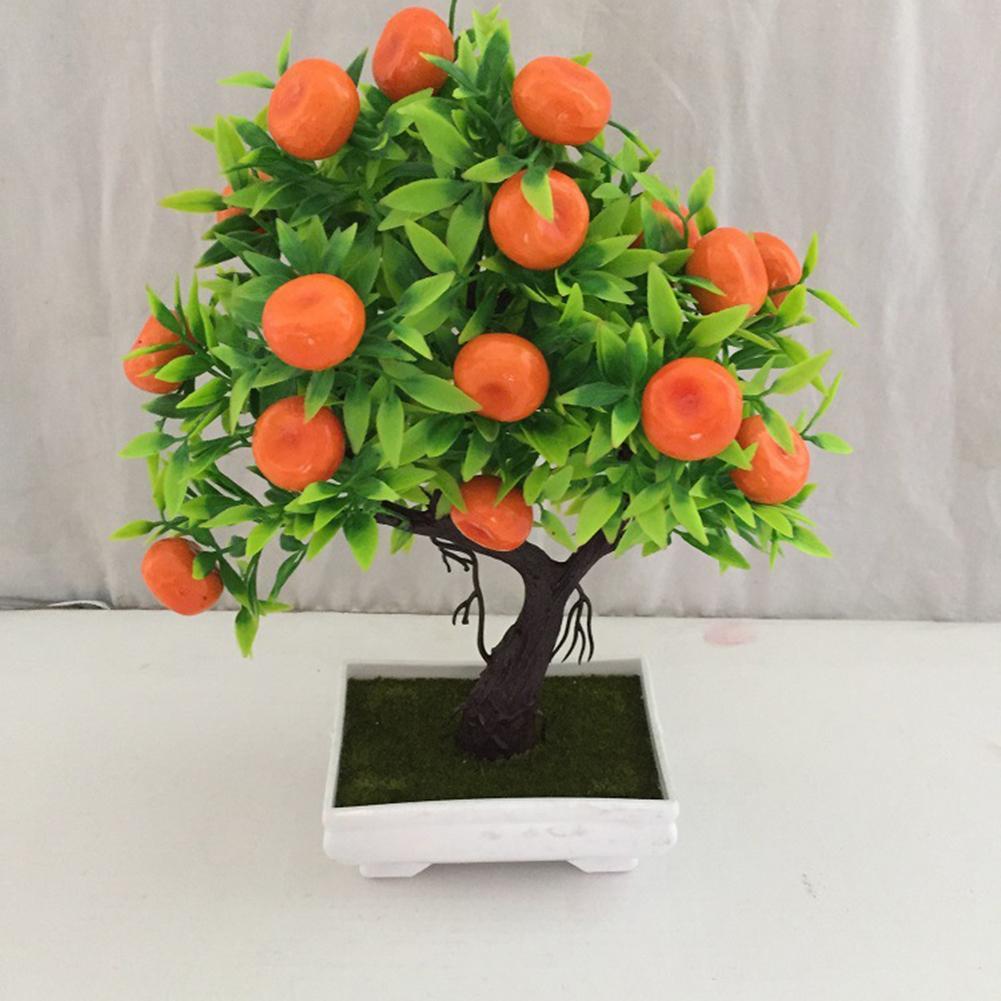 Nuevo árbol naranja Artificial planta bonsái en maceta árboles frutales paisaje fiesta hogar jardín decoración para la decoración de la sala de estar