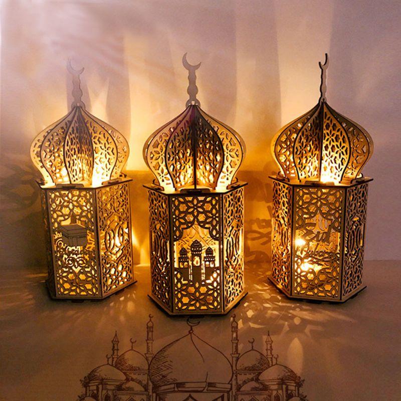 Muslim Festival Light Ramadan Eid Mubarak Decorations Wooden LED Lamp Palace Lighthouse Islam Party Supplies