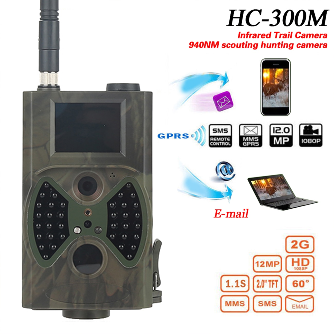 купить HC300M Night Vision Hunting Camera 2G GSM MMS GPRS 12MP 1080P Photo Traps Outdoor Wildlife Infrared Hunting Trail Cameras в интернет-магазине