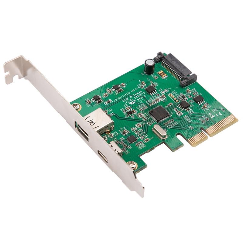 H1111Z PCI Express USB3.1 USB-C + USB3.1 tip A ana bilgisayar denetleyicisi kartı USB3.1 Gen II 10Gbps süper hızlı + ASM3142 yonga seti